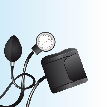 sphygmomanometer: black sphygmomanometer over blue background close up Illustration