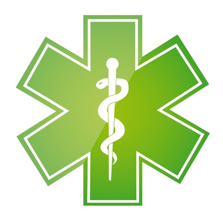paramedics: green medical sign isolated over white background.  Illustration