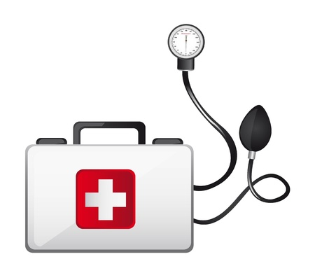 first aid box with sphygmomanometer isolated illustration Vector