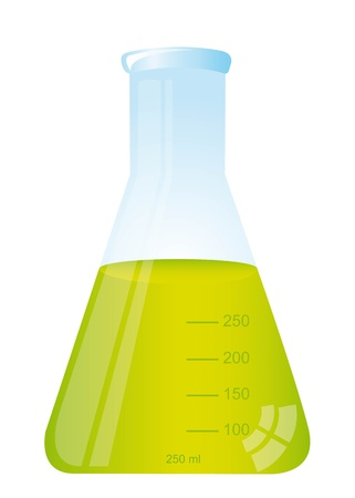 test tube with green liquid isolated over white background  Stock Vector - 11886135