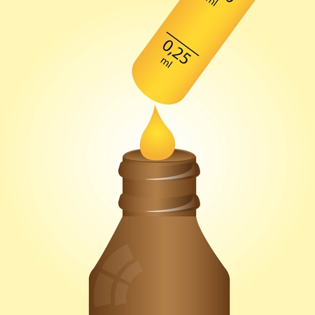 penicillin: dropper bottle  with yellow drop over beige background.