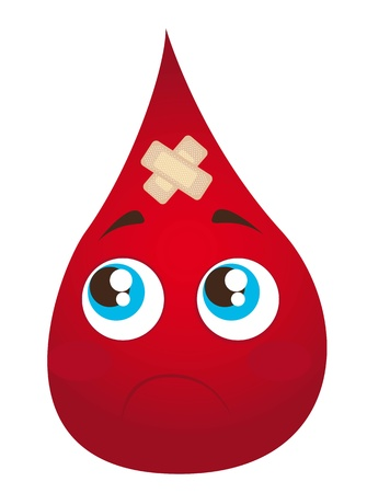 sad blood drop with adhesive bandage isolated illustration Vector