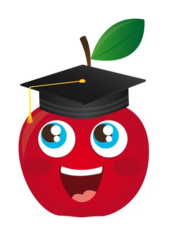 happy apple cartoon graduate isolated illustration Vector