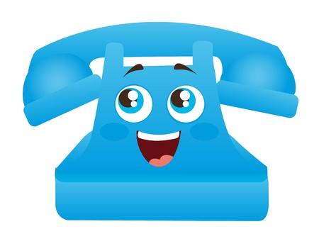 vintage telefoon: blauwe telefoon cartoon met de ogen en de mond illustratie