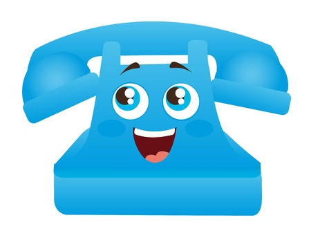 rotary dial telephone: blue telephone cartoon with eyes and mouth illustration