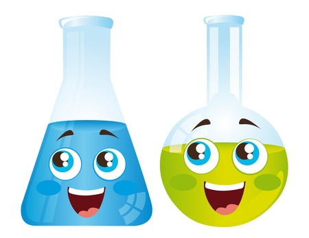 eye exam: happy test tubes cartoons isolated over white background