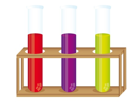 test glass: test tubes with container wood over white background