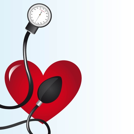 blood pressure monitor: black sphygmomanometer over red heart illustration
