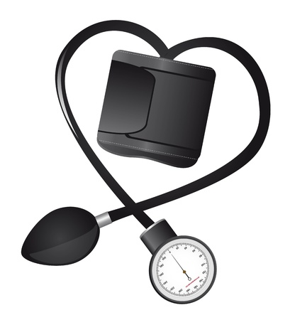 blood pressure monitor: black sphygmomanometer hearth-shaped isolated illustration