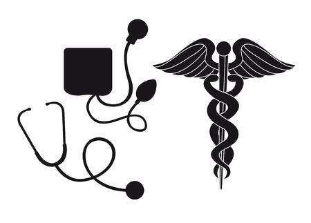 sphygmomanometer: silhouette sphygmomanometer, stethoscope and medical sign illustration Illustration