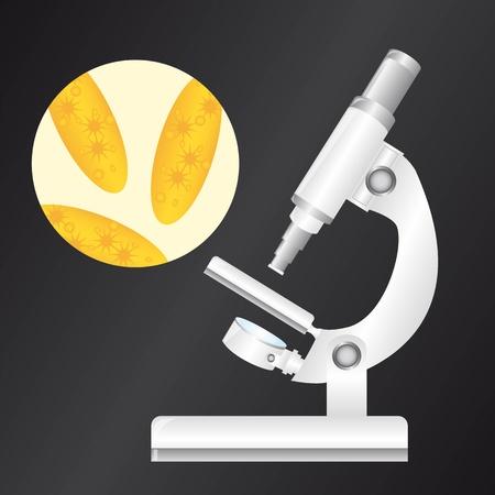 microscopy: white microscope with virus over black background.