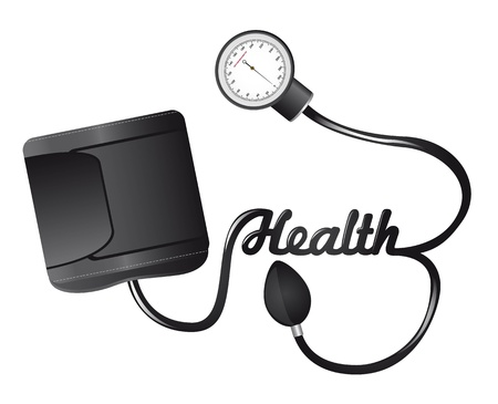 cuffs: black sphygmomanometer with health text isolated illustration