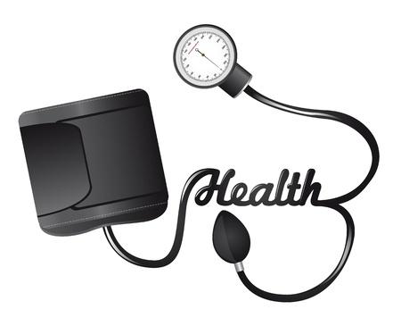 ipertensione: sfigmomanometro nero con illustrazione salute testo isolato