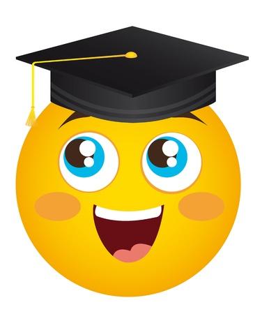 graduacion caricatura: amarilla de posgrado cara feliz, ilustración, sombrero