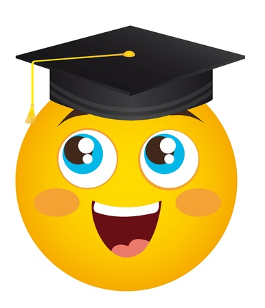 grad: yellow happy face graduate hat isolated illustration