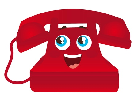 rotary dial telephone: red happy telephone cartoon with eyes isolated illustration