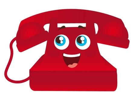cable telefono: rojo de dibujos animados de tel�fono contentos con la ilustraci�n de ojos aislado