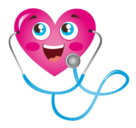 stethescope: pink heart and blue stethoscope isolated illustration