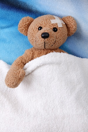 Teddy bear sleeping sleeping with a blanket photo