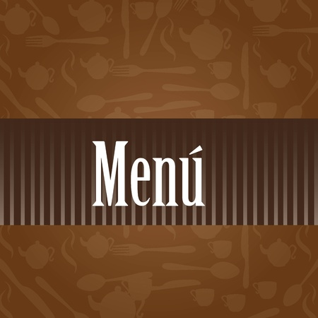 brown menu vector with silhouettes vector illustration Vector