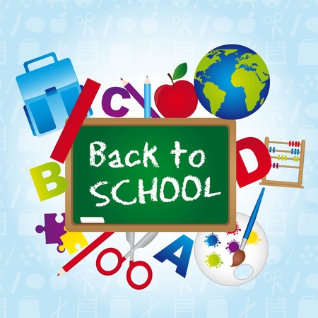 back to school over blue background. vector illustration Vector