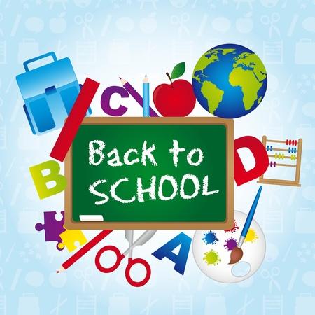 escuela primaria: realizar copias de seguridad a la escuela sobre fondo azul. ilustraci�n vectorial