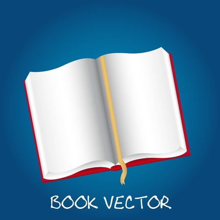 učebnice: otevřená kniha s bílými papíry přes modré pozadí. vektor