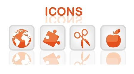 schoolkid search: los iconos de los elementos de color naranja sobre la ilustraci�n botones vector web
