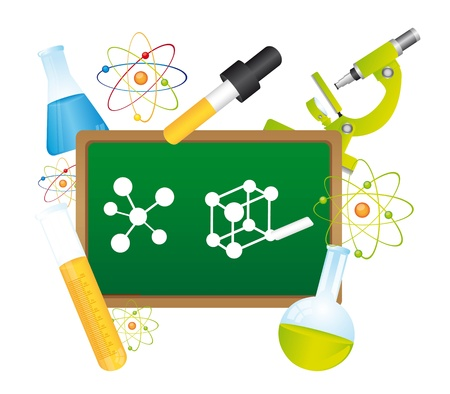scientific experiment: green chalkboard,  with science elements.  vector illustration
