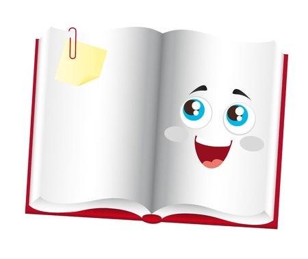 historieta libro lindo con los ojos más de fondo blanco. vector