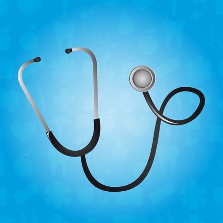 black stethoscope over blue background. vector illustration Vector