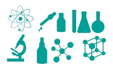 le icone della scienza isolato su sfondo bianco. illustrazione vettoriale Vettoriali