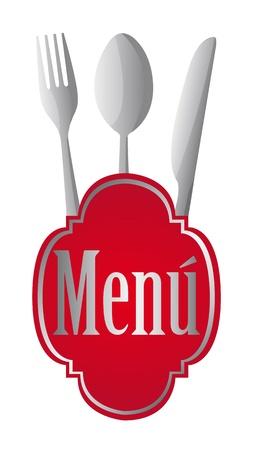 red menu sign with cutlery over white background. vector illustration Vector