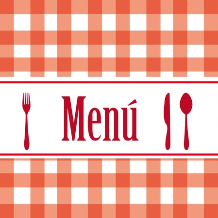 red silhouette cutlery and menu text over tablecloth. vector Vector