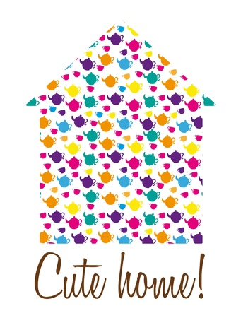 silhoette: cute home with silhoette kettles and cups isolated. vector Illustration