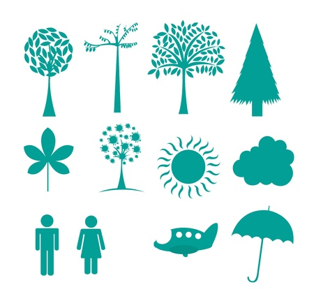 nature icons isolated over white background. vector illustration Vector