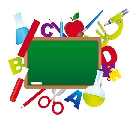 classroom supplies: pizarr�n de la escuela con elementos aislados sobre fondo blanco. vector Vectores