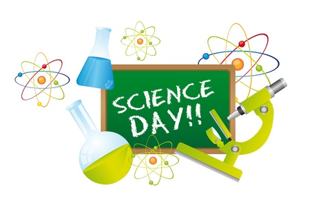 scientific experiment: science day text over chalkboard with science elements. vector