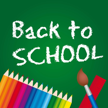 back to school text over chalk board with colored pencils.  Vector