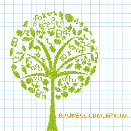 reflected: green business conceptual trees, scribbled. vector illustration Illustration