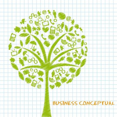 passport background: green business conceptual trees, scribbled. vector illustration Illustration