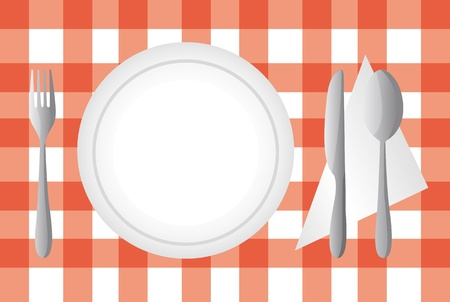 plate and cutlery over red tablecloth .vector illustration Vector