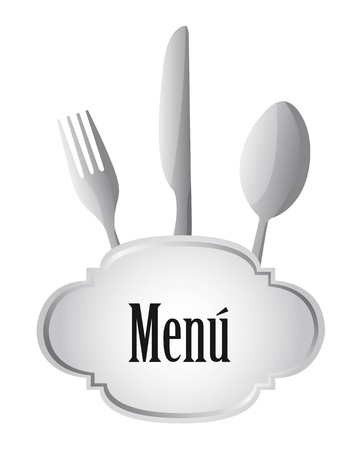 Gray menu with cutlery isolated over white background.vector illustrator Vector