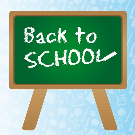 Back to school  over green chalkboard. vector illustrator Vector
