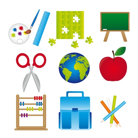 Different materials of school, isolated over white background.vector illustrator Stock Vector - 11986420