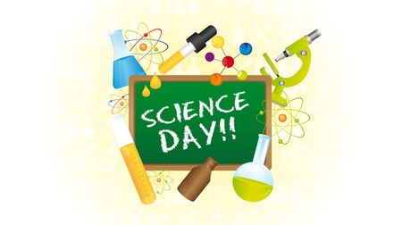 microscopy: Icons of science day over green chalkboard. vector illustrator