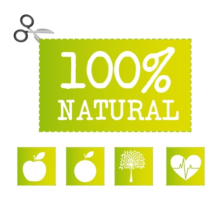 Green natural icons, isolated over white background.vector illustrator Vector