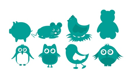Green animal icons, isolated over white background.vector illustrator Vector