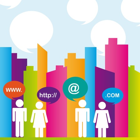 City with differents colors and people communication. vector illustrator Vector