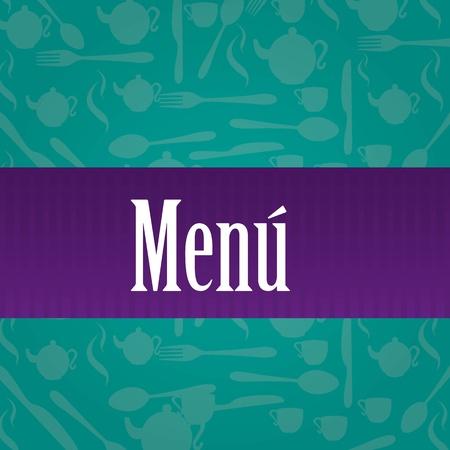 Menú over a green cutlery. vector illustrator  Vector